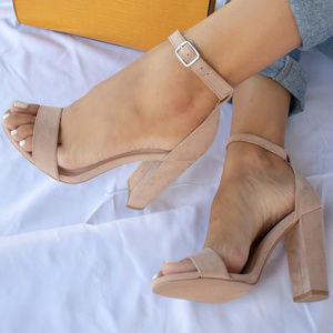 Girls Trip - Warm Taupe Ankle Strap Heels